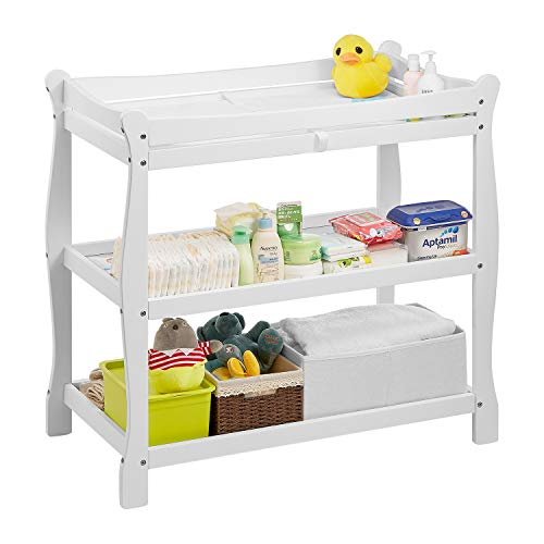 Sale!! Kealive Baby Changing Table, Infant Diaper Changing Table Wood 2 Fixed Shelves Storage, Newbo...