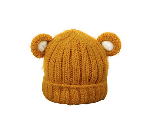 Jon Senkwok Cable Knit Hats For Kids Baby Boy Girl Soft Warm Bear Animal Beanie Hat (Yellow)