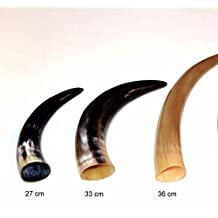 """AleHorn 12"""" Viking Drinking Horn with stand - Natural Style"""