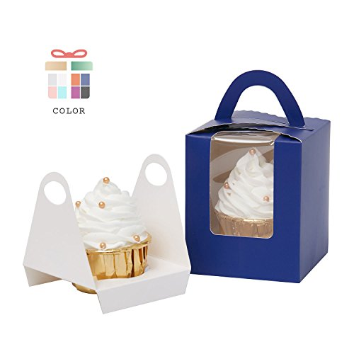 YoTruth Royal Blue Cupcake Boxes Single Cardboard Holders for Gift Wrapping 50 Pack Easy Assembly for Jumbo Cupcakes and Standard Cupcakes ()
