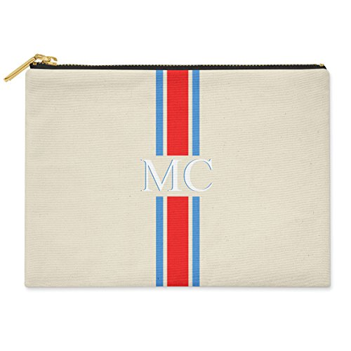 INITIALS amp; POUCH 24CM BAG amp; Blue STRIPED X Red 19CM COTTON MONOGRAMMED PINK GREEN MEDIUM Striped CLUTCH CANVAS PERSONALISED BnAa1