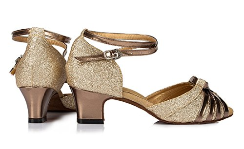 Tda Donna Peep Toe Nodo Moda Raso Salsa Tango Ballroom Latino Moderno Scarpe Da Ballo Di Danza 5cm Tacco Oro