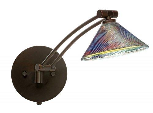 Besa Lighting 1WW-550493-BR 1X50W Gy6.35 Kona Wall Sconce with Dicro Swirl Glass, Bronze Finish