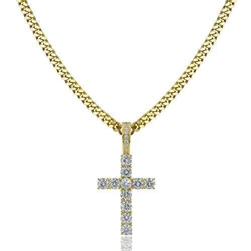 TOPGRILLZ 14K Gold&Silver Plated Iced Out CZ Lab Cubic Zirconia Lion Cross Pendant Neckace Mens Stainless Steel