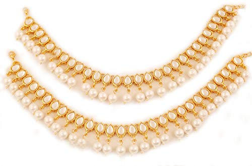 Touchstone New Indian Bollywood Mughal Era Inspired Stylish Traditional Kundan Look Faux Pearls Hangings Designer Jewelry Wedding Payal Paazeb Pair of Anklets in Antique Gold Tone for Women. ()