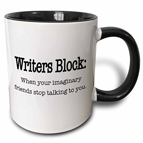 (3dRose 157392_4 Writers block when your imaginary friends stop talking to you Mug 11 oz Black)