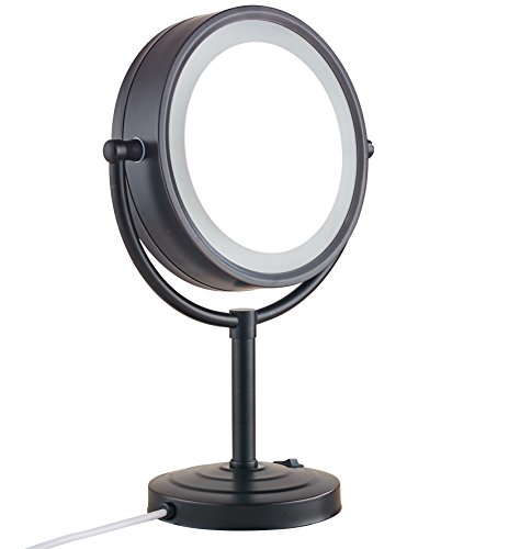 Cavoli 8.5 inch LED Makeup Mirror with 10x Magnification,Tabletop Two-sided,Oil-Rubbed Bronze Finish for Bathroom Bedroom 8.5in,10x