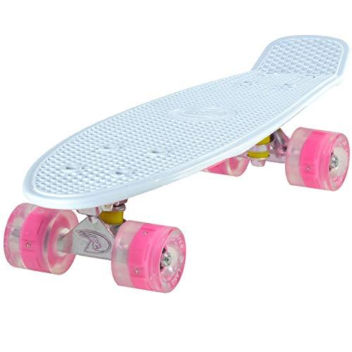 LAND SURFER® Skateboard Cruiser Retro Completo 56cm con tabla de 3 tonos de colores diferentes – cojinetes ABEC-7 – Ruedas 59mm PU + bolsa para el ...