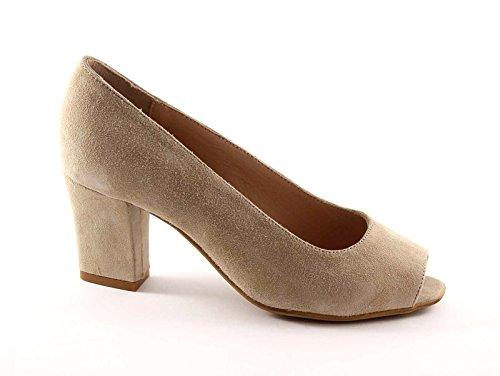 Grünland CURVA SC1142 de color beige mujer zapatos de gamuza apareció decollet Beige