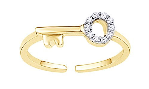 Jewel Zone US White Natural Diamond Midi Key Ring In 10K Solid Yellow Gold (0.05 Ct) (Key Diamond Ct 0.05)