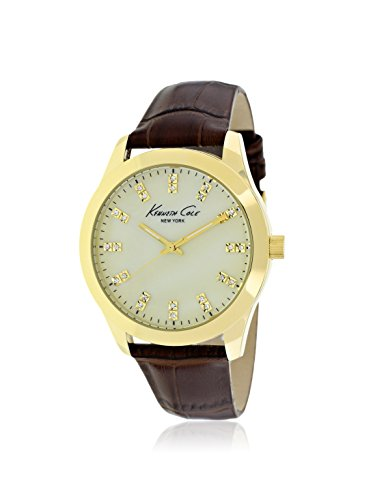 Kenneth Cole New York KCW2021 Three-Hand Brown Leather Crystals Womens Watch