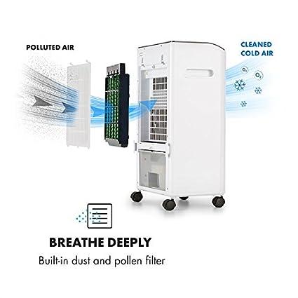 ... 3 en 1 Bajo Consumo 3 Niveles de Potencia Humidificador Filtro de Aire Portátil 4 Ruedas 2 baterias Depósito Agua/Hielo 400m³/h Blanco: Amazon.es: Hogar