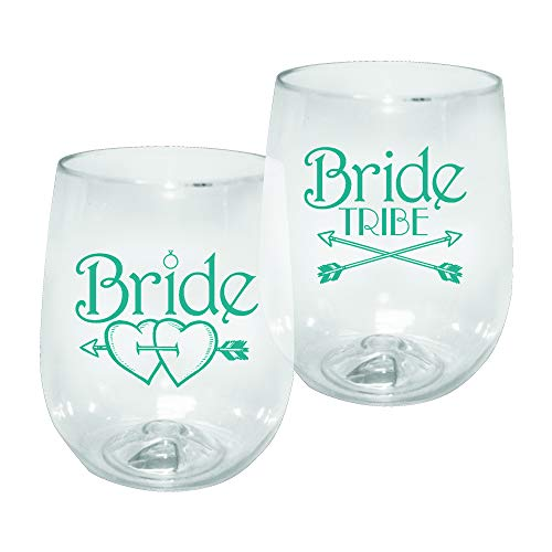 Barware 12oz Plastic Stemless Wine Glass - Bride Tribe Print for Bachelorettes, set of 12 - Shatterproof Tumbler, Clear ()