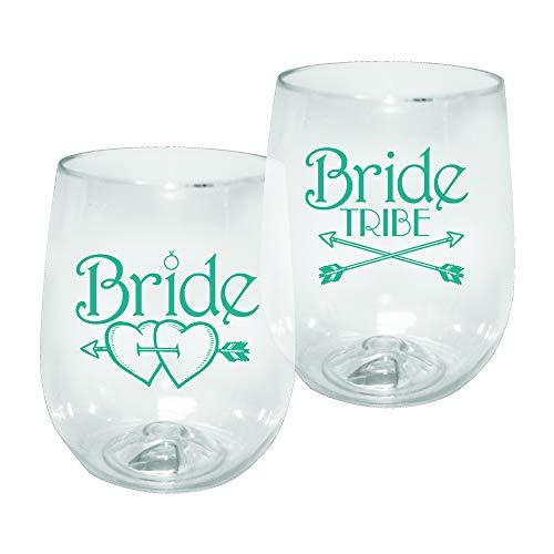 Barware 12oz Plastic Stemless Wine Glass - Bride Tribe Print for Bachelorettes, set of 12 - Shatterproof Tumbler, Clear -