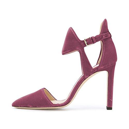 Fsj Femmes Bout Pointu Velours Pompes Chunky Talons Hauts Sandales Élastiques Chaussures Avec Boucle Taille 4-15 Us Prune