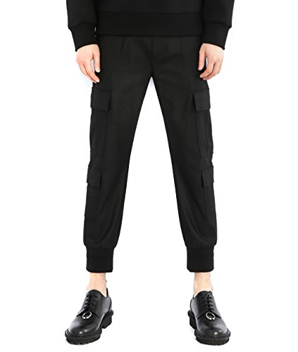 wiberlux-neil-barrett-mens-woolen-cargo-pocket-jogger-pants-48-black