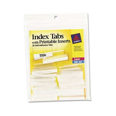 Printable Tabs Hanging File Adhesive (Avery Self-Adhesive Tabs w/Printable Inserts, 1 1/2 in, White 25/Pk - AVE16230)