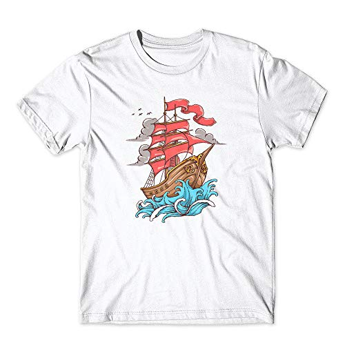 Fully Rigged Ship - Ship Sail to The Sea T-Shirt 100% Cotton Premium Tee New White (Large)