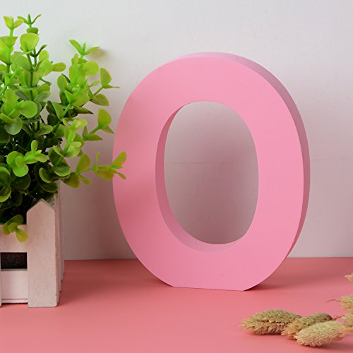 Painted Wood Letters (Decorative Wood Letters O Hanging Wall 26 Letters Wooden Alphabet Wall Letter for Children Baby Name Girls Bedroom Wedding Brithday Party Home Decor-Letters)