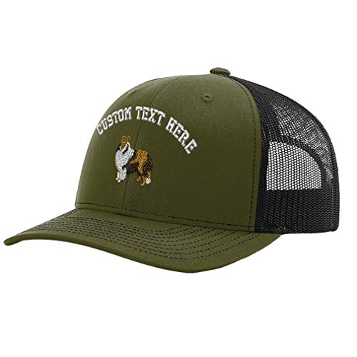 (Custom Richardson Trucker Hat Shetland Sheepdog Embroidery Design Polyester Mesh Baseball Cap Snaps Loden/Black Personalized Text Here)