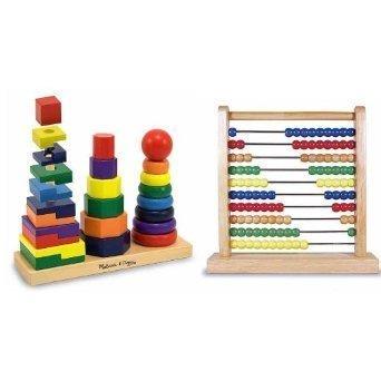 - Melissa & Doug Abacus & Geometric Stacker Bundle