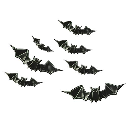 HEALIFTY 8 Pcs 3D PVC Bat Wall Decals Glow in The Dark Bat Luminous Wallpaper Window Stickers for Halloween Party Home Decoration ()