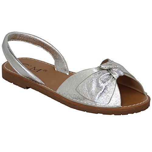 MCM Ladies Sandals Menorcan Womens Slip On Flat Bow Sling Back Flip Flops Summer New Silver - 180600 b70ID8