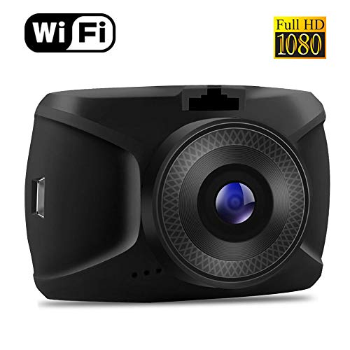 Wi-Fi Dash Cam, Compact Size Dashboard Camera with Supercapacitor, Superior Nighttime Recording, Wide-Angle View, G-Sensor, Loop Recording, HDR, WDR