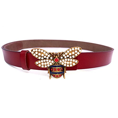 MoYoTo Women 1.10″ Thin Genuine Leather Fashion Bee Designer Buckle Belt With Pearl (Red)