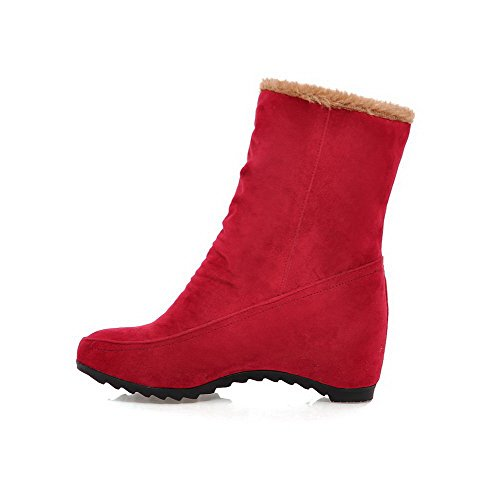Women's Red Solid High Toe Allhqfashion On Low Heels Round Boots Top Closed Pull 7Tdxzw