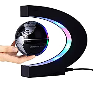 Magnetic Levitation Floating Globe 3 inch with LED Lights C Shape World Map for Desk Decoration