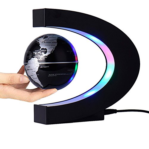 Magnetic Levitation Floating Globe 3 inch with LED Lights C Shape World Map for Desk Decoration