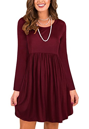 LAVENCHY Womens Dress Plus Size Long Sleeve Party Christmas Casual Maternity Holiday Solid Flowy Tunic Dresses For Women Wine Red,L - Maternity Tunic Dress