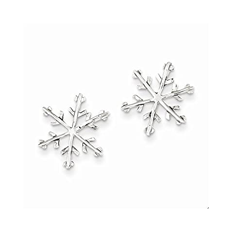 Sterling Silver Snowflake Post Earrings (15 x 15mm) (Sterling Snowflake Earrings)