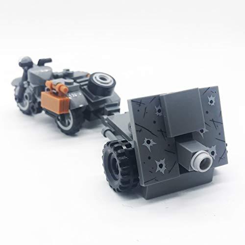 (koolfigure Custom WW2 Military Building Blocks Set, The German Willys Jeep, Mini Bricks Toys (Model D - Grey Tricycle Set))