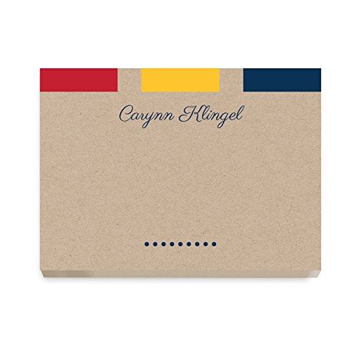 Custom Handwritten Words Post It Notes with Color Block Design, Personalized Stationery - Set of 6-50 Sheets per Post It Note. Size: 3in x 4in. Made in The USA.
