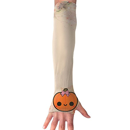 Cute Jack O' Lantern Mild Compression Arm Sleeves With Thumb Holes Sports Armlet Hand Cover 1 Pair Sun Screen (Ju Ju Ladybug)