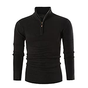 MIEDEON Mens Slim Fit Zip Up Mock Neck Polo Sweater Casual Long Sleeve Sweater and Pullover Sweaters with Ribbing Edge