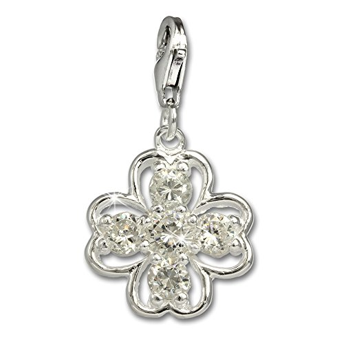 SilberDream Charms Four-leafed Clover White Zirconia 925 Sterling Silver Pendant Lobster Clasp FC681