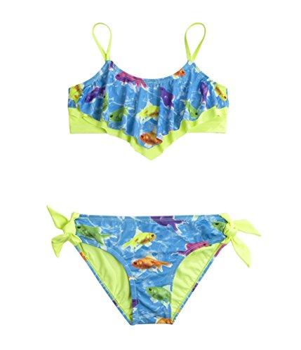 Justice Girls Fish Flounce 2 Piece Bikini 694 14