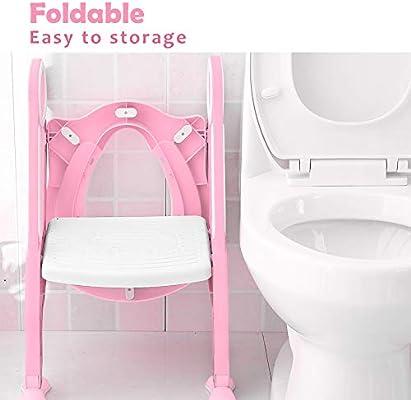 Adaptador wc escalera infantile, Opret Asiento para WC con paso plegable para Niños Rosado: Amazon.es: Bebé
