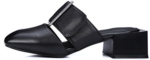 Calaier Women Caworst Square-Toe 4CM Block Heel Slip-on Mules Sandals Shoes Black jm733WzL02