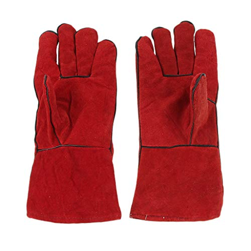 Flameer Heat Resistant Lined Leather Welding Splatter Protective Gloves Welder Gear Used in Cement Factory, Smithing, DIY