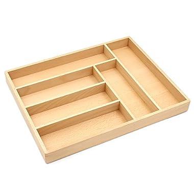 Bamber Hardwood Kitchen Silverware Organizer, Premium Flatware Drawer Organizers, Utensil Trays - Beechwood