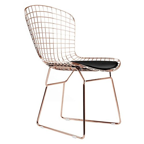 Bertoia Style Side Chair In Rose Gold Finish (Black Pad)