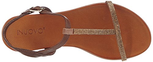 Inuovo Cape Town, Women's T-Bar Brown - Braun (Camel Strass-dark Brown Lea)