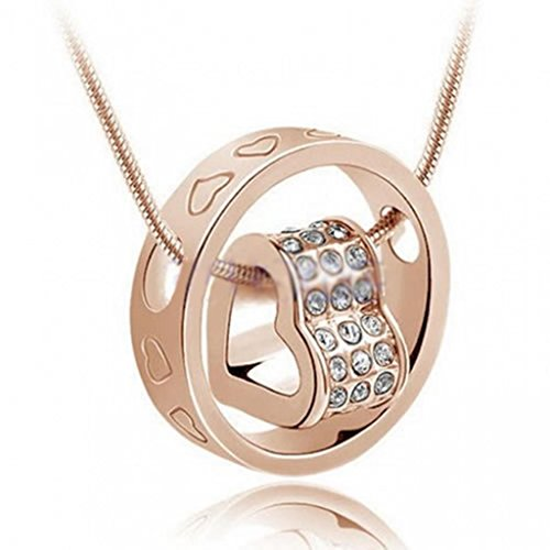 DDU(TM) 1Pc Gold- Unique Love Heart Ring Shape Crystal Rhinestone Pendant Neck Chain Necklace Valentine's Day Gift