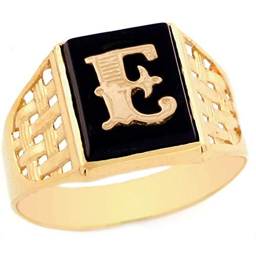 10k Yellow Gold Bold Black Onyx Mens Elegant Basket Weave Initial Letter E Ring - Size 10 - Mens Black Onyx Initial Ring