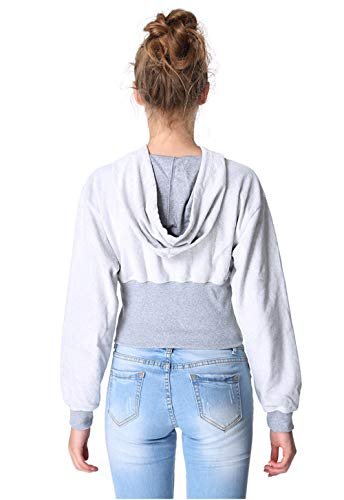 Capuche Court Fashion Casual Femmes Jeune Jumpers Simple Fashion Hauts Pulls et Pullover Printemps Blouses Automne Sweats Manches Sweat Shirts Gris Longues Tops nZ8W4qWwa
