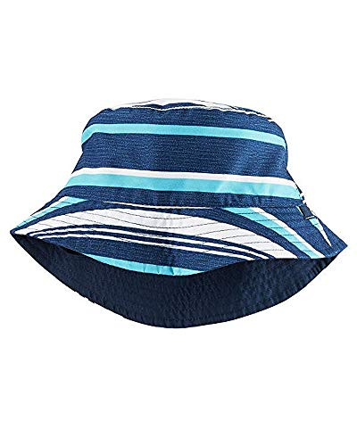 (Carter's Girls Reversible Striped/Solid Swim Hat, Navy, 4-8 Kids)